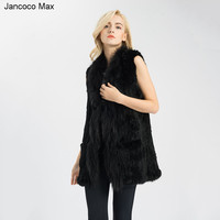 Jancoco Max 2019 New Style Real Rabbit Fur Gilet With Pocket Women Winter Fashion Vest Waistcoat Wholesale / Retail S1549
