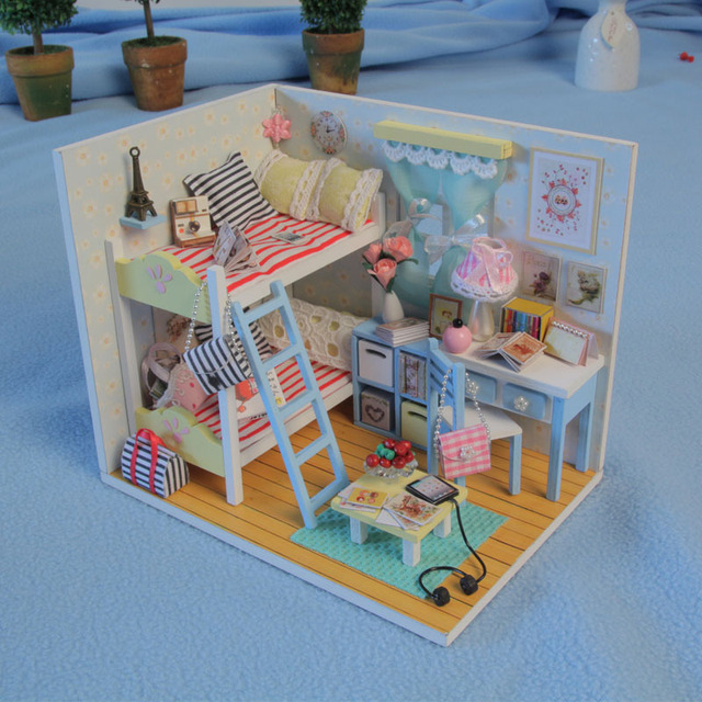 D014 dollhouse miniature bedroom miniatures for dollhouses miniatura With Furniture&Light