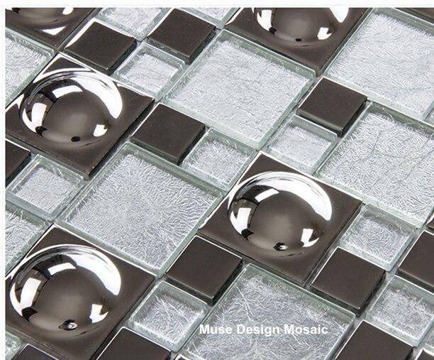 Metal Silver Electro Plate Glass Mosaic Wall Tiles For Kitchen Backsplash  Backdrop Hallway DIY Wall Sticker