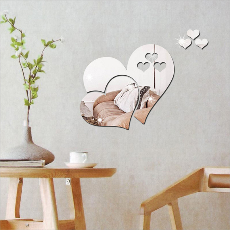 Creative Love Hearts 3D Mirror Wall Sticker Decal DIY Home Living Room Art Mural Decor Removable Bathroom Home Decoration