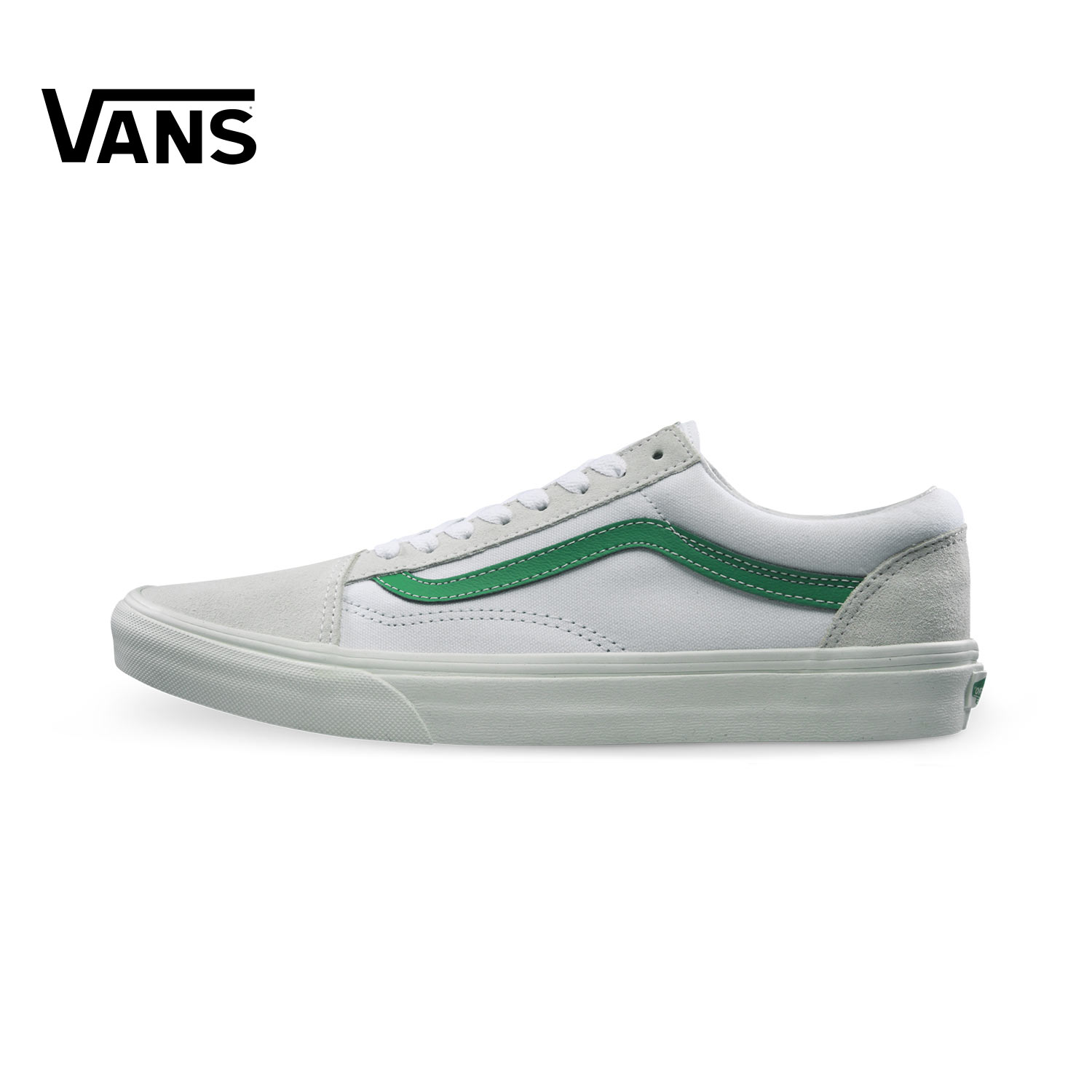 Vans Old Skool White Green Sneakers Low-top Trainers Men Sports Skateboarding Shoes Rubber Classic Canvas Vans Shoes for Men