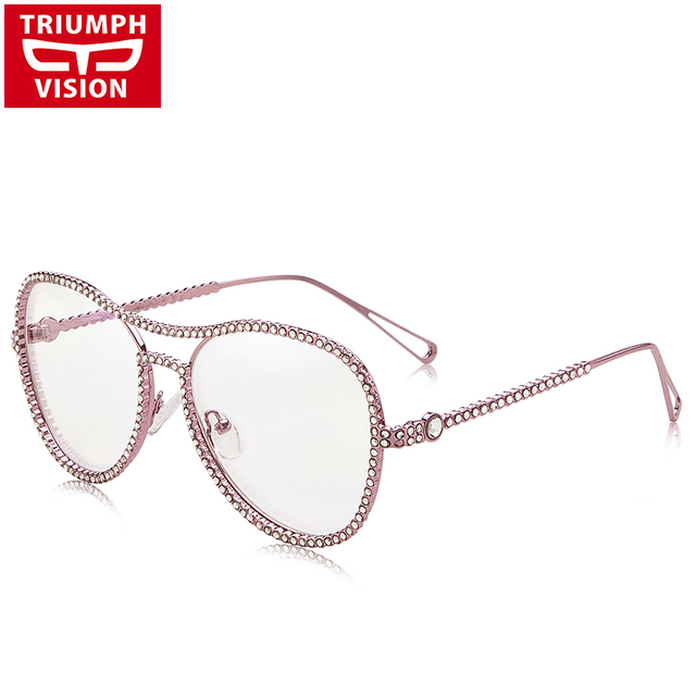 TRIUMPH VISION Pink Glasses Frame Women Pilot Style Spectacle Frame Luxury Imitation Diamond Eyewear Frames Clear Eyeglasses New