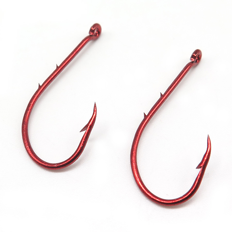 Buy 100pcs lot double barb fishhook red for Fish and hooks
