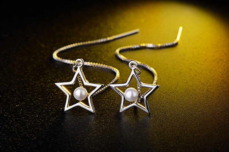 Everoyal Top Quality 925 Silver Earrings For Women Jewelry Trendy Star Pearl Long Tassel Earrings Girls Accessories Female Gift in Drop Earrings from Jewelry Accessories