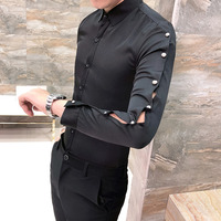 high quality men shirt hollow long sleeve 2019 new arrival shirt dress all match streetwear mens casual shirts slim fit tuxedo