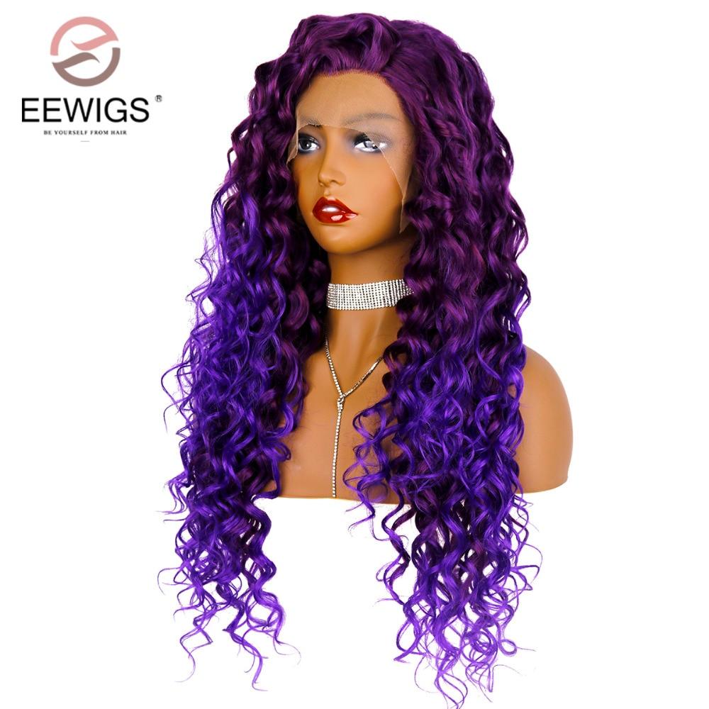 Pelucas de 180% densidad Ombre peluca frontal de encaje resistente al calor largo rizado sintético de encaje peluca frontal pelucas púrpuras sin pegamento para las mujeres