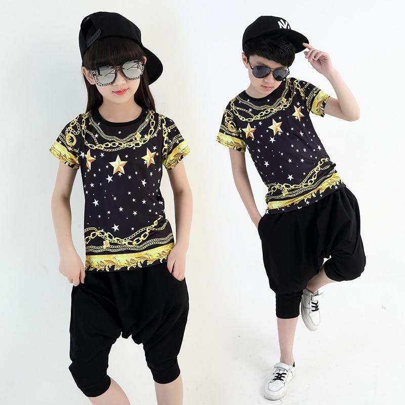 KTLPARTY 2017 new Children girl boy adult black gold star jazz hip hop hiphop costume T-shirt clothes harem pants