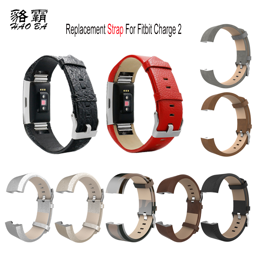 Replacement Genuine Leather Strap for Fitbit Charge 2 Band Watchband for Charge2 Heart Rate Smart Bracelet With Steel Buckl
