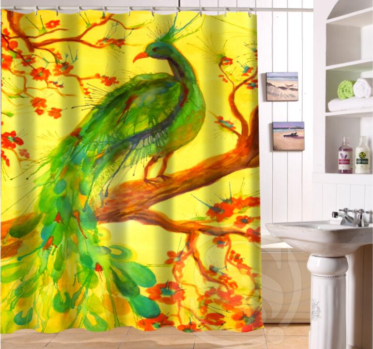 Free Shipping Custom Colorfulful peacock Waterproof Fabric Bathroom Shower Curtain home Decor SQ0622
