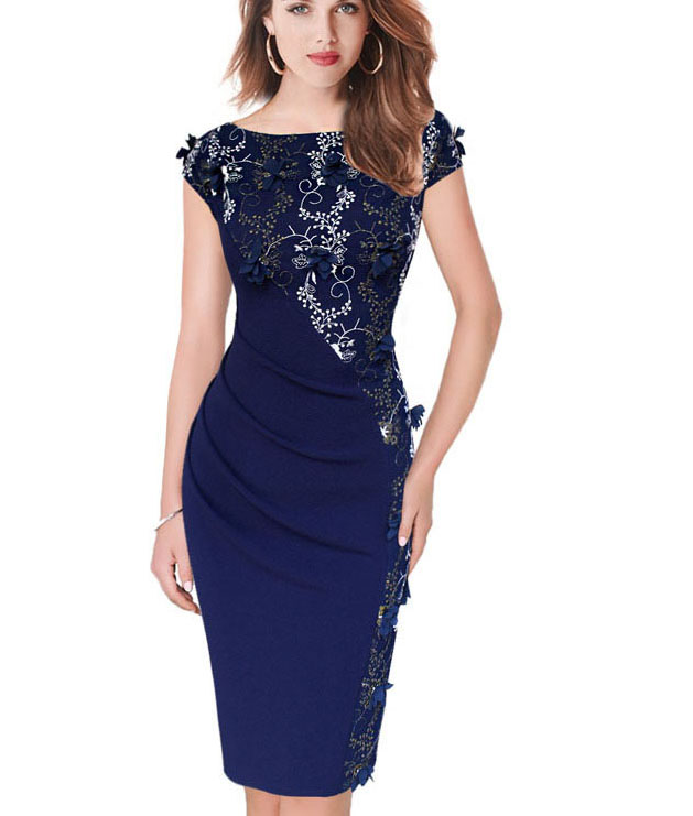 Dressing Gowns For Women: Womens Dress Elegant Embroidery Ruched Casual Party