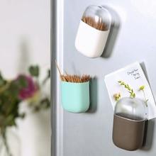 Магнитный держатель для зубочистки, контейнер, портативная зубочистка, коробка для холодильника, микроволновой печи, бытовой Настольный Диспенсер Для Зубочисток