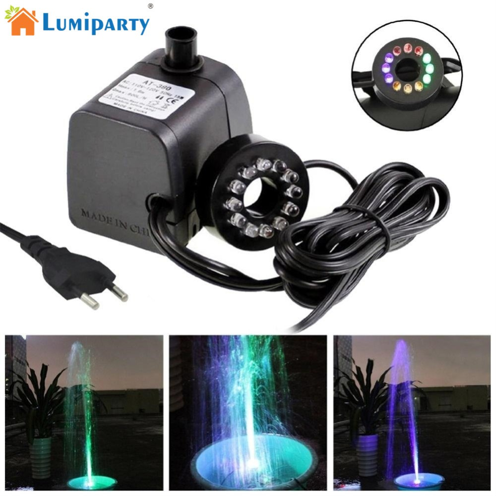 LumiParty Mini Submersible Water Pump with LED Light for Aquariums KOI Fish Pond Fountai ...