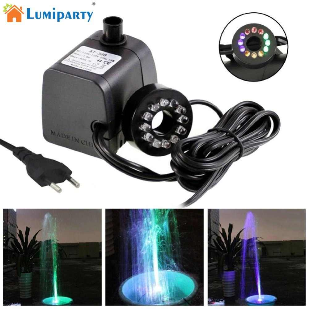 Submersible Water Pump With LED Light For Fountain Pool Garden Pond Fish 600H//h