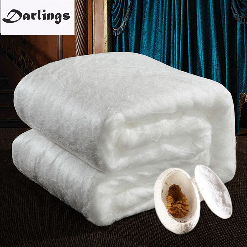 100%Mulberry Silk Quilt 100%Cotton Duvet Cover Quality Handmade Winter Warm Silk Blankets 2-4kg Silk Comforter Pink/White/Yellow