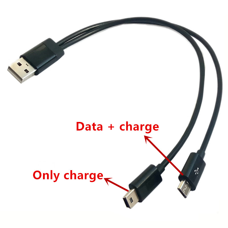 USB 2 in 1 Cable Mini-usb Mini USB & micro usb 2.0 Micro-USB 5 pin connector Y Cable for charge and data sync 25cm