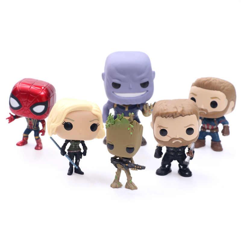 Marvel Мстители 3 бесконечные войны танос фигурка игрушка Тор Железный человек Человек-паук Капитан Америка Черная пантера кукла с коробкой 10 см