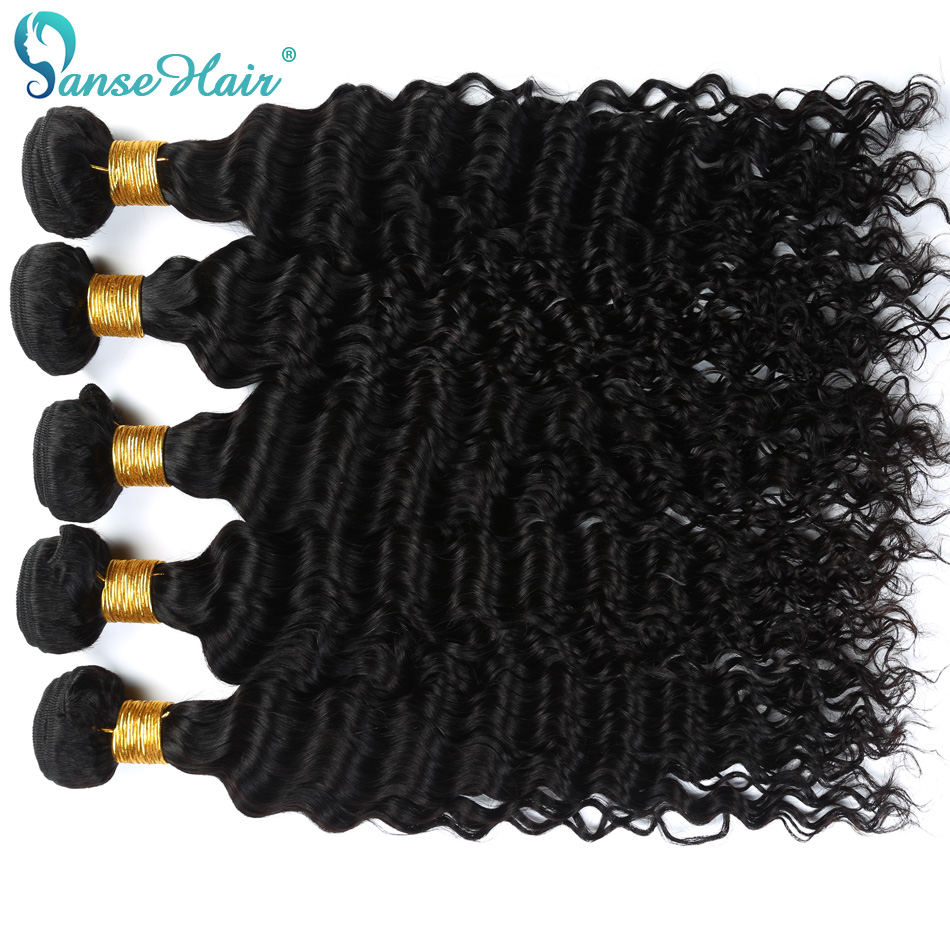 Panse Hair Brazilian Deep Wave Hair Weaving 100% Human Hair Extension 3 Bundles Per Lot 100 g 1B Hair Bundles