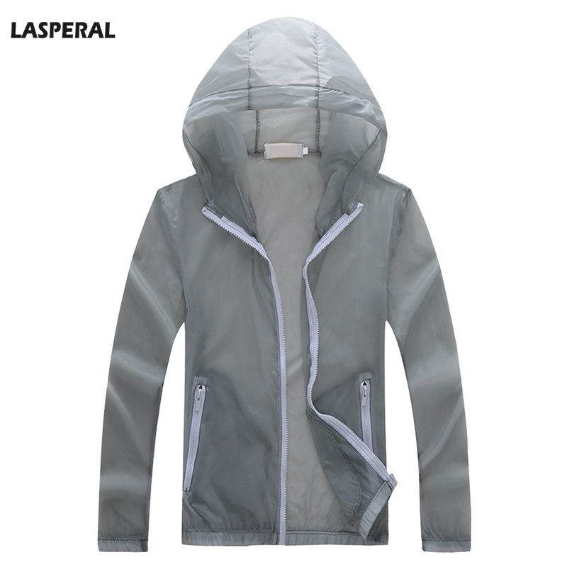 LASPERAL Mens Solid Color Sunscreen Jacket Quick-drying Clothes Jacket Coat Zipper Hoode ...