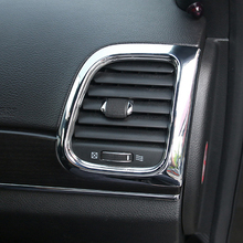 ABS Chrome For Jeep Grand Cherokee 2014 2015 2016 2017 Car conditioner air Outlet decoration Cover Trims Car Styling Accessories 2014 2015 2016 2017 for jeep grand cherokee car storage box handle door bowl cover trims car abs chrome styling accessories