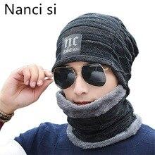 Nanci si 2 pieces inverno gorro chapéu cachecol conjunto quente malha chapéu grosso velo forrado inverno chapéu & cachecol skullies gorro para homem feminino