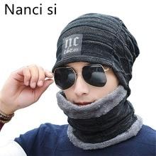 ננסי si 2 חתיכות חורף כפת כובע צעיף סט חם לסרוג כובע עבה צמר מרופד חורף כובע & צעיף skullies מצנפת עבור גברים נשים