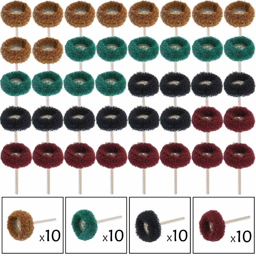 40 Pcs 3mm Abrasive Buffs Polishing Buffing Wheel Set Kit For Dremel Rotary Tool Grinding Accessories