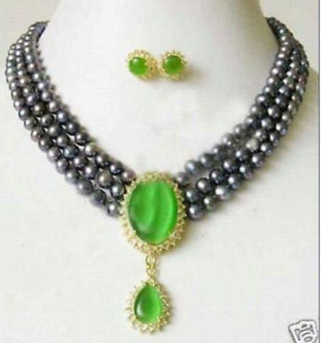 >>>>> 3 Rangées Noir Perle et Vert Jade pendentif Collier