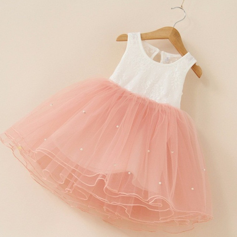 Patchwork Cute Baby Girl Dress Clothes Lace Vest Pearls Kids Dresses for Girls Clothing Holiday Wear Vestido Infantil Bebe Pink puseky vestido princesa 2 pcs set cute kids baby girls clothes minions minnie party dress vest skirt toddler clothes 1 6y