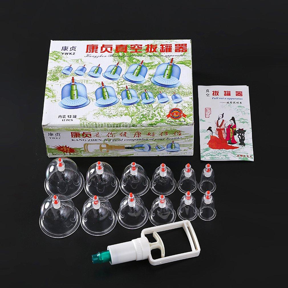 1 Unidades * 12 piezas de masaje de vacío ahuecando más grueso magnético aspiración de ahuecamiento latas Cupuncture masaje de la succión de la Copa con tubo regalo