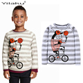 Spring Boys Clothes 2017 New Cartoon Striped Clothes For Kids Children Long Sleeve Cotton Tops Tees Baby Boys T-Shirts CG309