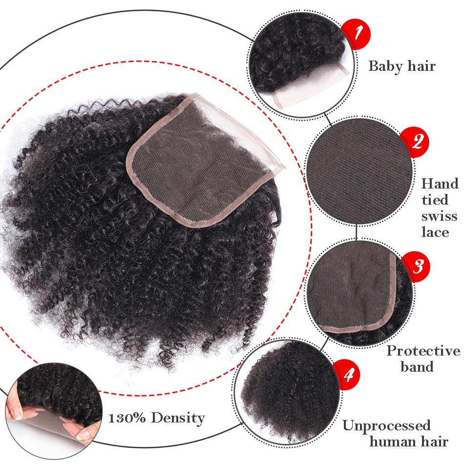 Image 4 - MOBOK Brazilian Human Hair Afro Kinky Curly closure 8 20Inch 4*4 Free Part Lace Closure Natural Color Remy Hair Weaving 1PC/Lot-in Closures from Hair Extensions & Wigs