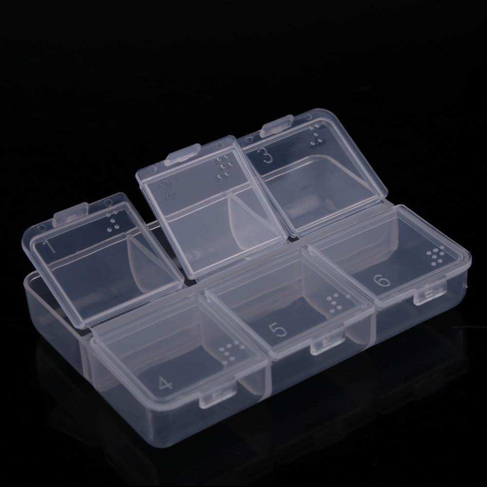 New Mini Portable Empty Braille 6 Cells Pill Medicine Drug Storage Case Box