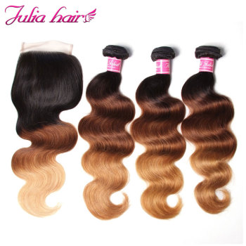 Julia Hair Ombre Bundles With Closure Brazilian Body Wave Human Hair Bundles With Closure 4*4 Lace Free Part Remy Hair