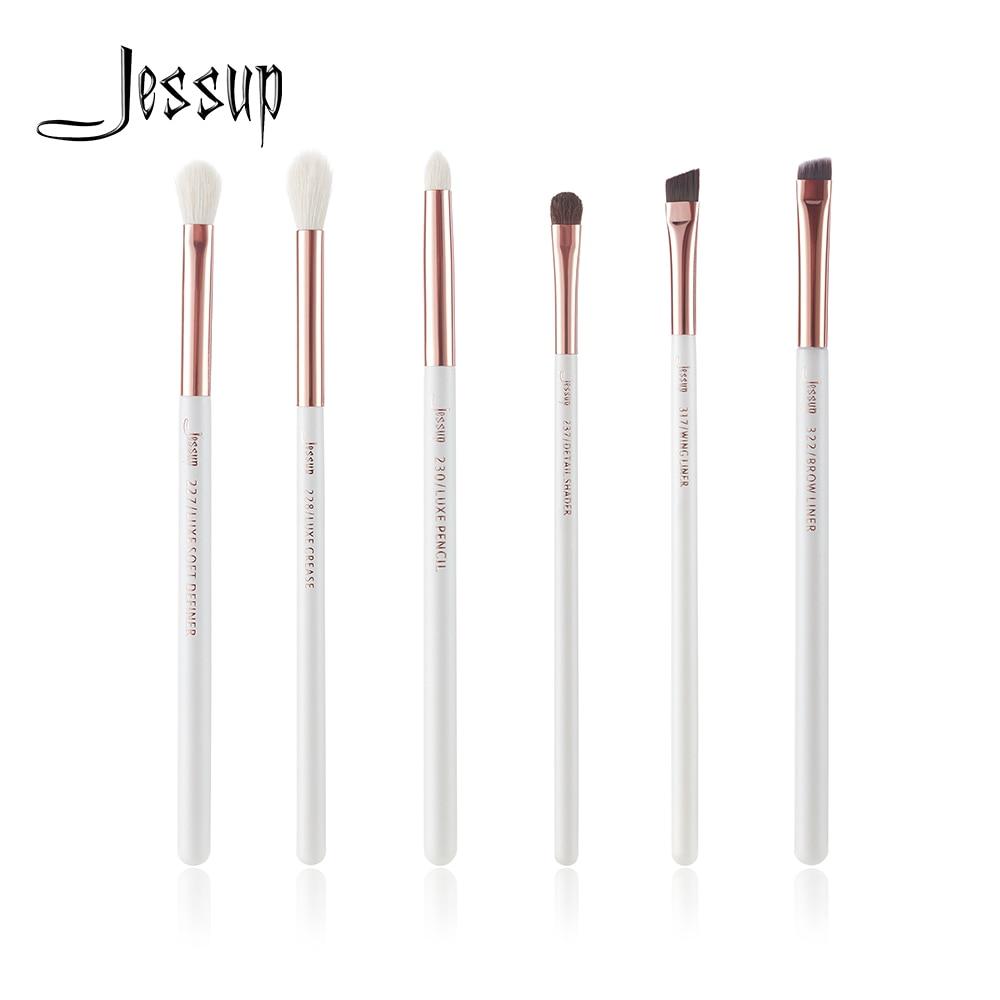 Jessup 6 stücke Perle Weiß/Rose Gold Berufs Make-Up Pinsel Set Make up Pinsel Werkzeug Auge Shader Liner natürliche -synthetische haar