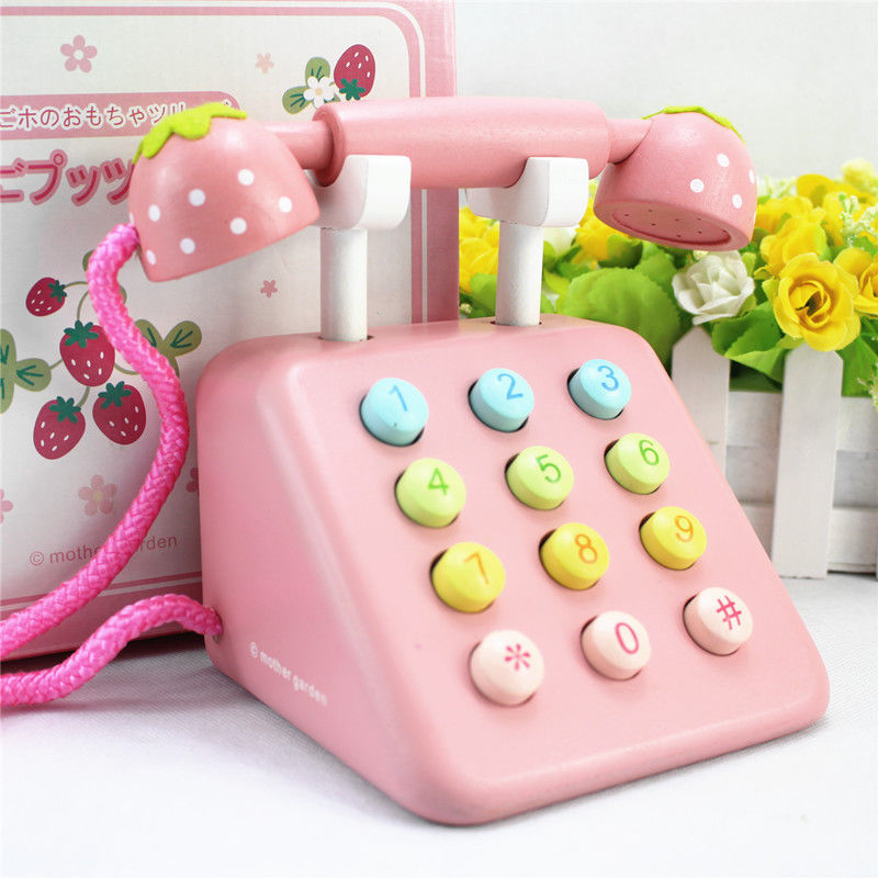 ФОТО mother garden strawberry simulational telephone play house wooden toy gift Kids Pretend Play Toy