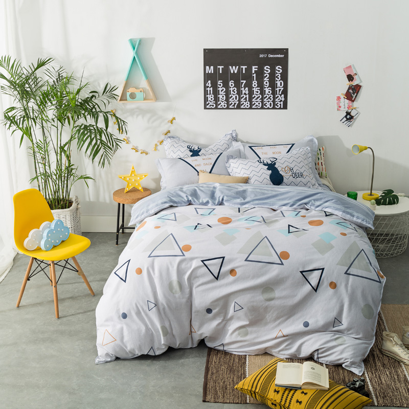 Fashion style geometry print bedding sets Twin Single Queen size 100%cotton duvet cover bedsheet pillowcase Fashion style geometry print bedding sets Twin Single Queen size 100%cotton duvet cover bedsheet pillowcase