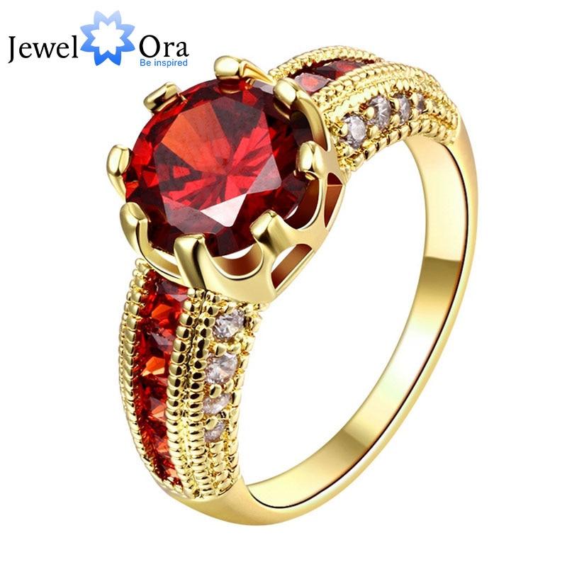 Verlovingsringen Zirconia Ringen Luxe Rode Sieraden Trouwring Vrouwen Ring Voor Party Kopen Een Gift (JewelOra RI101653)