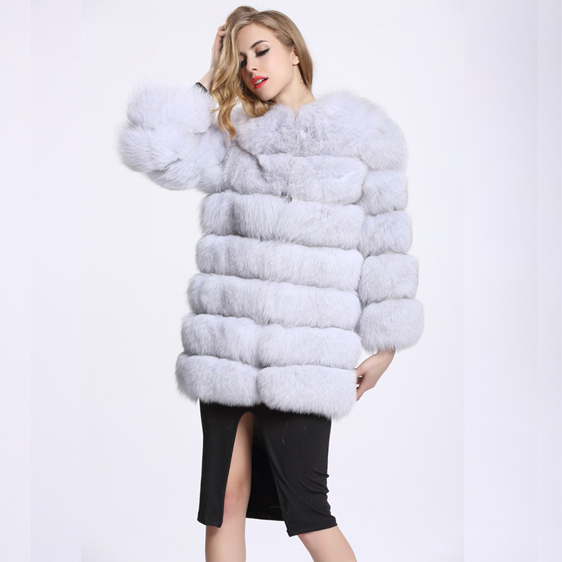 winter European style women imitation fox fur coat patchwork long large size warm faux fur thick coat