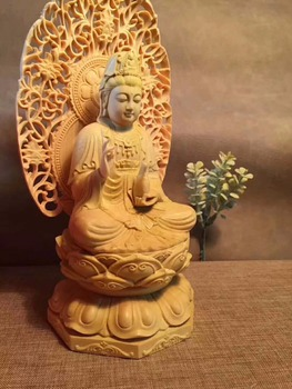 The new recommended leaf boxwood carving plaque exquisite Buddha Guanyin sitting on the lotus net Bottle Gift.