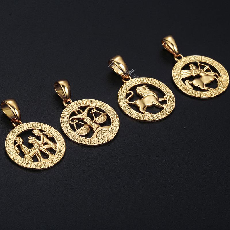 Image 5 - Mens Womens 12 Horoscope Zodiac Sign Gold Pendant Necklace  Aries Leo Wholesale Dropshipping 12 Constellations Jewelry GPM24Pendant  Necklaces