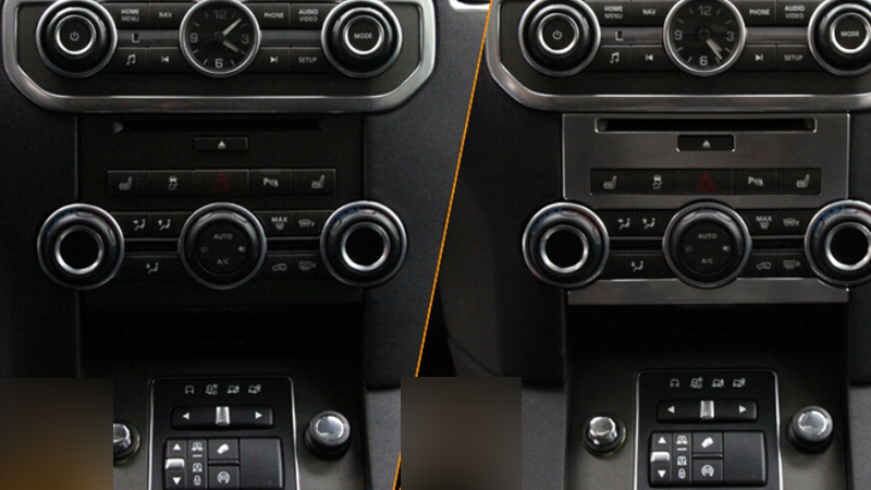 Chrome Front centre console switch button cover 2pcs For Land Rover Discovery 4 / LR4 2015 2014 2013 2012 2011 2010 for land rover discovery 4 lr4 accessories abs dark wood grain center console ac outlet cover trim sticker for lhd 2pcs set