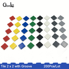 200Pcs/lot MOC Brick Tiles 2 x 2 with Groove Building Blocks Parts DIY Educational Creative Toys Compatible with gift 200pcs lot mf msmf050 2