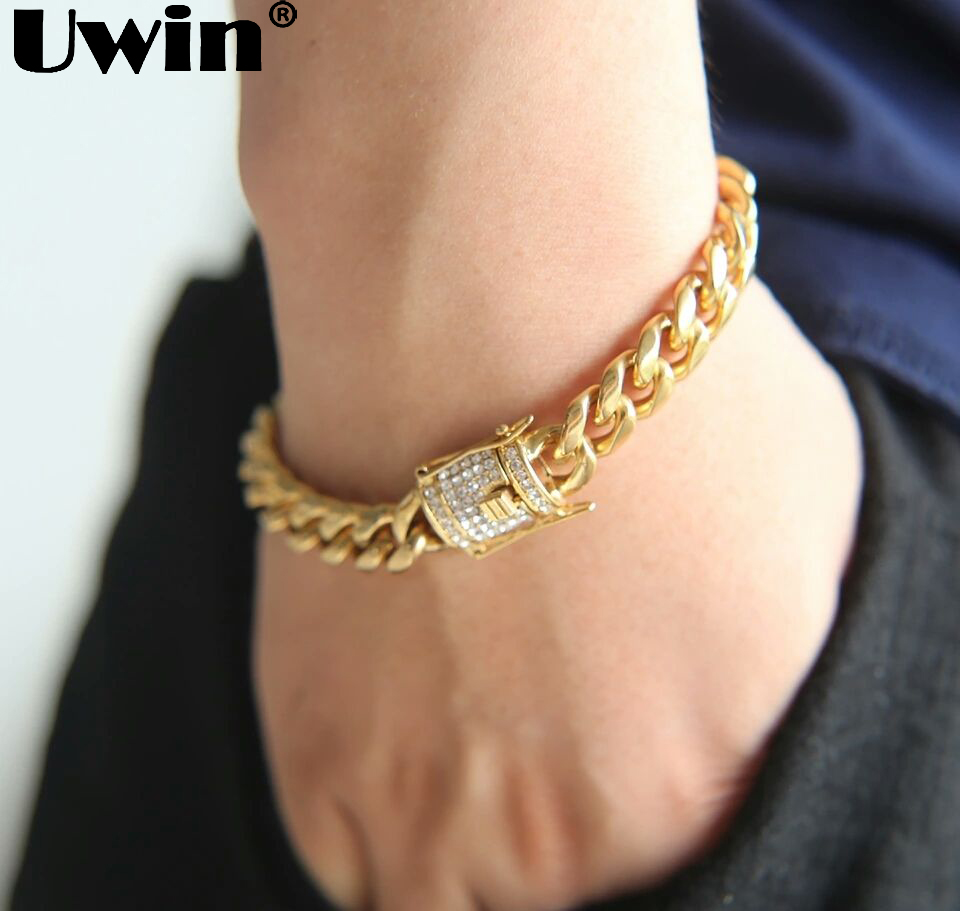 Uwin 10&13&15mm Cuban Link Bracelet Men Full Iced Out Rhinestones Box Clasp Top Quality Stainless Steel Bangles Hiphop Jewelry