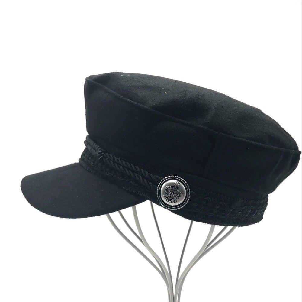 Militärhüte Neue Heiße Winter Hüte Für Frauen Männer Achteckige Kappe Taste Baseball Caps Sonnenblende Hut Schwarz Casual