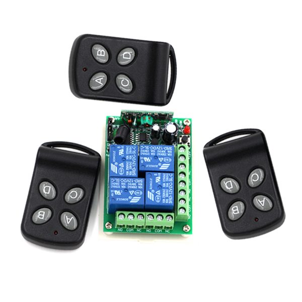 Latest DC 24V 4 Channel RF Wireless Remote Control Switch System with 3pcs Transmitter + Receiver 315/433mhz dc 12v 2ch 2 channel wireless rf remote control switch 3 transmitter and 1 receiver for wireless system 3312