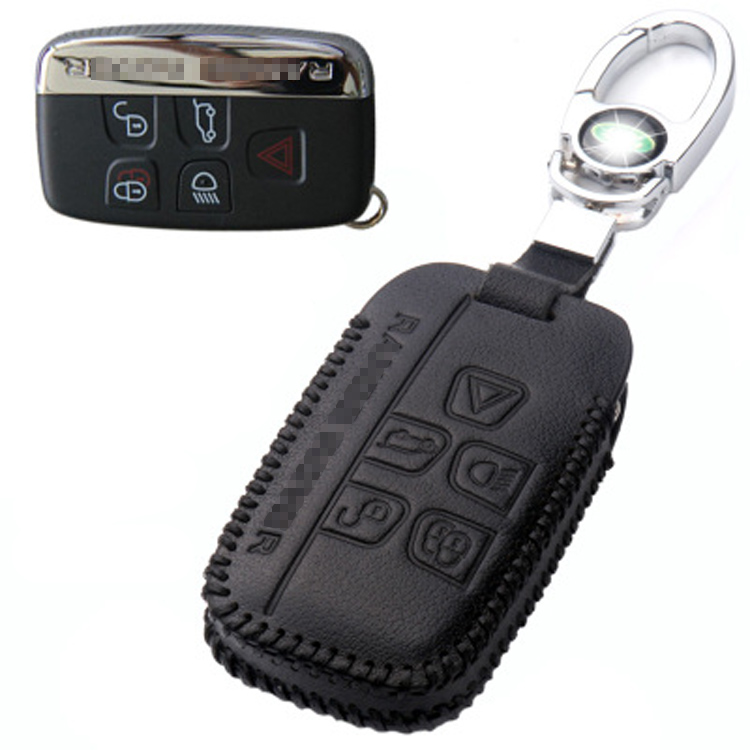 Ipoboo Brand New Leather 5 Button Remote Key Bag Case Fob Holder Chain For Land Rover/Jaguar Series