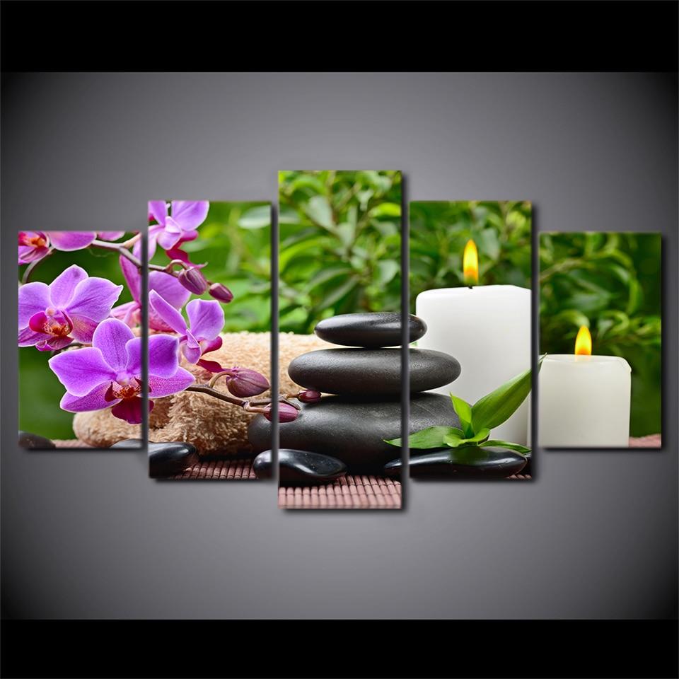 HD Gedruckt 5 Stück Leinwand Kunst Rosa orchidee Spa Zen Malerei ...