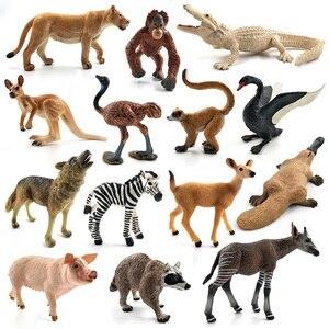 Image 2 - Đà điểu Meerkat Okapi Thiên Nga Wolf Cá Sấu Thú Mỏ Vịt Hươu Pig mô hình động vật hình bức tượng trang trí nội thất trang trí phụ kiện đồ chơi