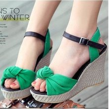 CooLcept free shipping casual wedge sandals bohemia female shoes sexy bowtie footwear fashion P11828 EUR size 34-42