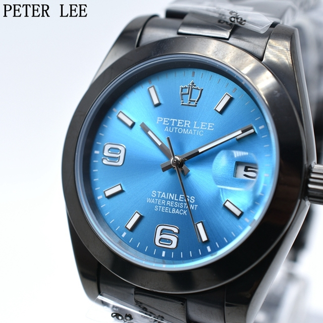PETER LEE Dial 38mm Mens Watches Top Brand Luxury Classic Automatic Mechanical W
